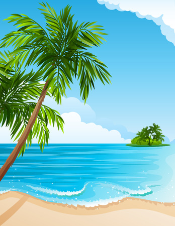 Illustration for illustration - Tropical landscape with beach, sea and palm trees - Royalty Free Image