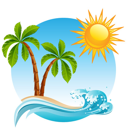 Illustration for illustration - Two palm-tree  on the tropical island - Royalty Free Image