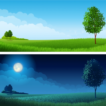 Illustration pour  illustration - Summer landscape (day and night), RGB.Use transparency and blend modes - image libre de droit