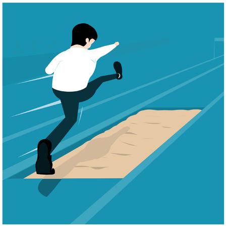 Ilustración de Vector illustration business concept. Businessman is Jump over sand pits. Overcome any obstacles. - Imagen libre de derechos