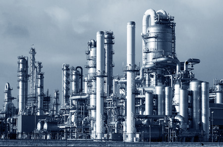 Photo for Pipelines of a oil and gas refinery industrial plant. - Royalty Free Image