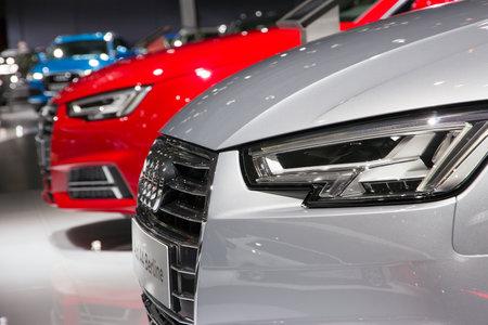 Foto de BRUSSELS - JAN 12, 2016: New Audi cars on display at the Brussels Motor Show. - Imagen libre de derechos