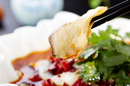 Photo for Boiled fish with bean sprouts in hot chili oil - Royalty Free Image
