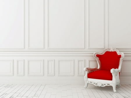 Photo pour Red classic armchair against a white wall and white floor - image libre de droit