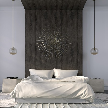 Photo pour Modern bedroom in light colors with emphasis on the wooden ledge behind the bed - image libre de droit