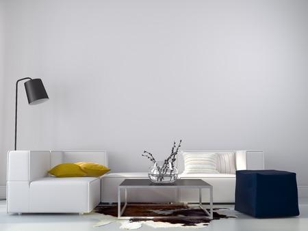 Foto de Interior living room in a minimalist style with bright accents - Imagen libre de derechos