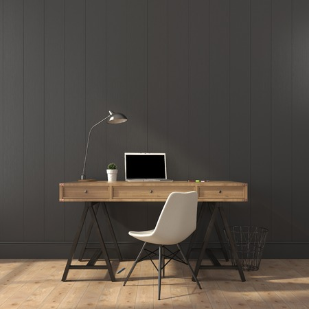 Photo pour Wooden desk and modern chair against a gray wall - image libre de droit