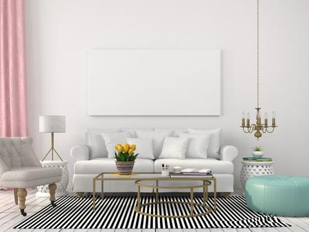 Foto de Interior living room with light furnishing and decor made of brass - Imagen libre de derechos