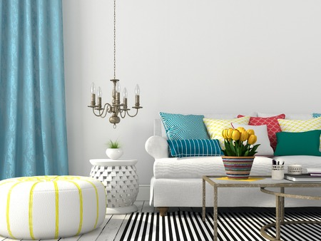 Photo pour White interior of living room with colorful pillows and blue curtain - image libre de droit