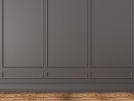 Photo pour Background of a classic gray wall and wooden parquet - image libre de droit