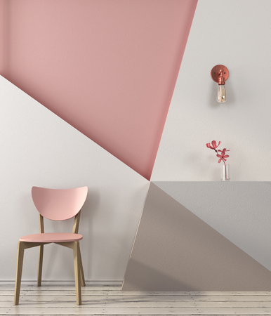 Foto de Pink chair on the background of a wall with geometric shapes in pink and gray colors - Imagen libre de derechos