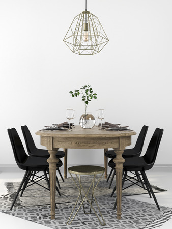 Photo for Served vintage wooden dining table, combined with the modern black chairs and a brass chandelier - Royalty Free Image