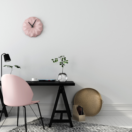 Photo pour Stylish workplace with an interesting combination of a black wooden table and a pink chair - image libre de droit