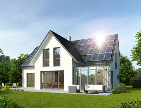 Foto de House with conservatory - Imagen libre de derechos
