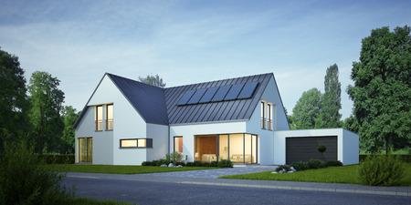 Photo pour House with solar system in the evening - image libre de droit