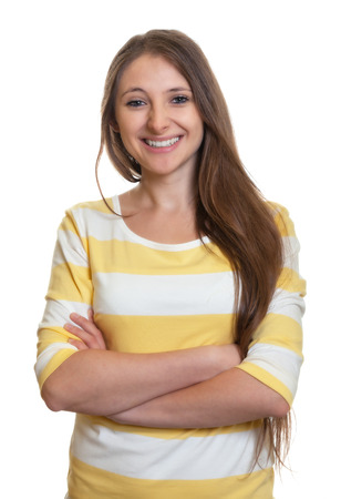Photo for Laughing woman with long brown hair and crossed arms - Royalty Free Image