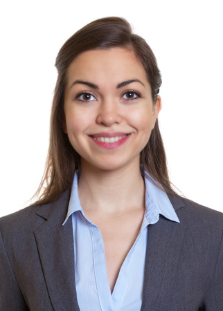 Foto de Passport picture businesswoman with brown hair - Imagen libre de derechos