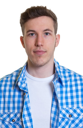Photo for Passport picture of a guy in a checked shirt - Royalty Free Image
