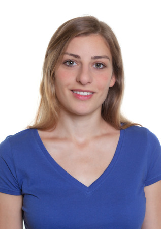 Photo for Passport photo of a german woman in a blue shirt - Royalty Free Image