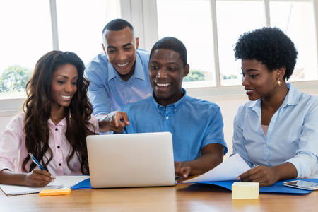 Photo for African american business team talking about strategy - Royalty Free Image