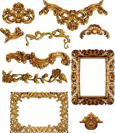 Foto de picture  golden antique frames Set Vintage isolated  on white background - Imagen libre de derechos