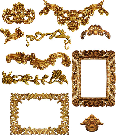 Foto de picture  golden antique frames Set Vintage isolated  on white background - Imagen libre de derechos