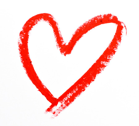 Photo pour lipstick heart shape on white background - image libre de droit