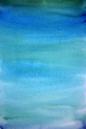 Watercolor light blue hand painted art background for scrapbooking