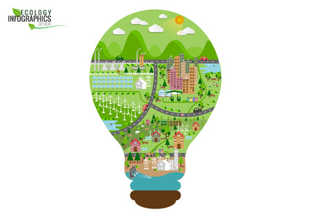 Ilustración de Infographic green ecology city and Renewable energy  friendly concept. Vector flat illustrations - Imagen libre de derechos