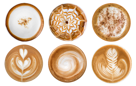 Photo pour Top view of hot coffee cappuccino latte art foam set isolated on white background - image libre de droit