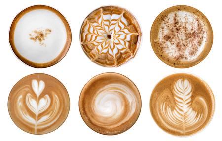 Foto de Top view of hot coffee cappuccino latte art foam set isolated on white background - Imagen libre de derechos