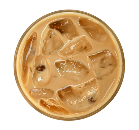 Photo pour Top view of coffee latte cappuccino with ice in glass isolated on white background, clipping path included - image libre de droit