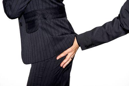Touching a business womans butt
