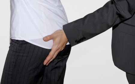 Touching the secretary's butt