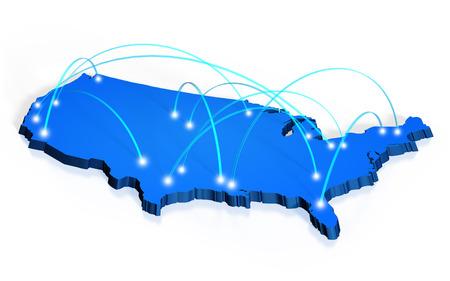 Photo pour Network coverage map of United States - image libre de droit