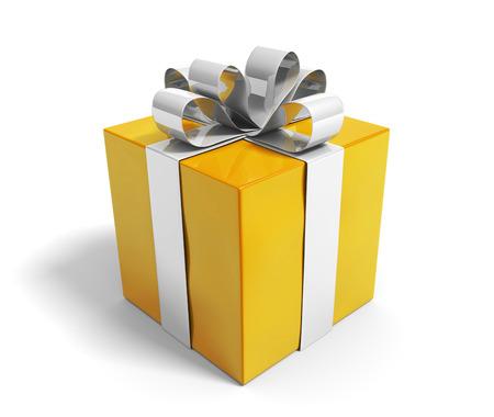Photo for Beautiful gold gift box reward with a shiny silver ribbon - Royalty Free Image
