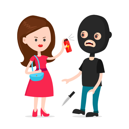 Illustration pour Woman protected herself from robber. Self defense spray concept. Vector modern style cartoon character illustration icon design.  human attack technology, safety equipment, personal security,tear-gas - image libre de droit
