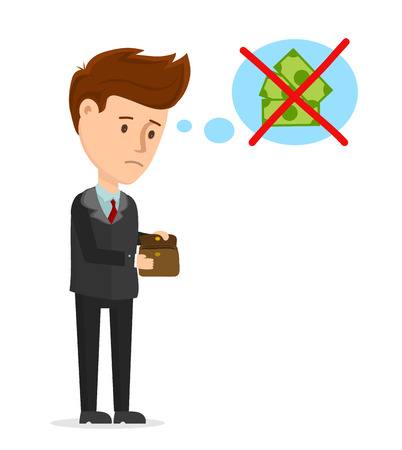 Illustration pour Vector cartoon modern trendy stylish flat character illustration icon design. Sad man looks in an empty wallet. No money, crisis, business, businessman, no job concept. Isolated on white background - image libre de droit