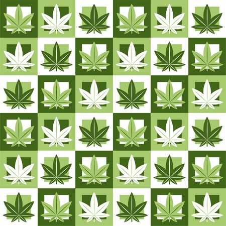 Illustration pour Marijuana,green weed, dope seamless pattern in abstract geometry square. Vector illustration background design.Marijuana leaf seamless pattern - image libre de droit