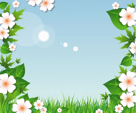 Illustration pour Spring background with green grass and leaves, flowers on blue sky - image libre de droit