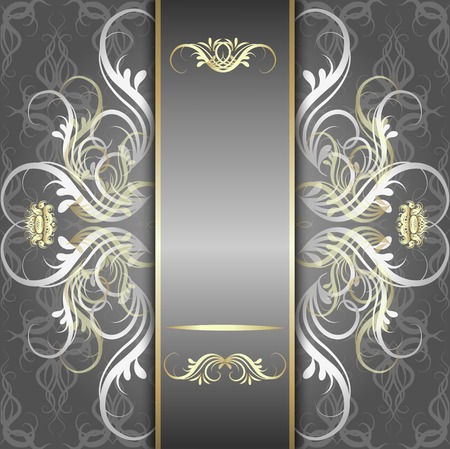 Illustration pour Vintage, elegant background, antique, victorian silver, floral ornament, baroque frame, beautiful invitation, classical old style card, ornate page cover, royal luxury, ornamental pattern template - image libre de droit