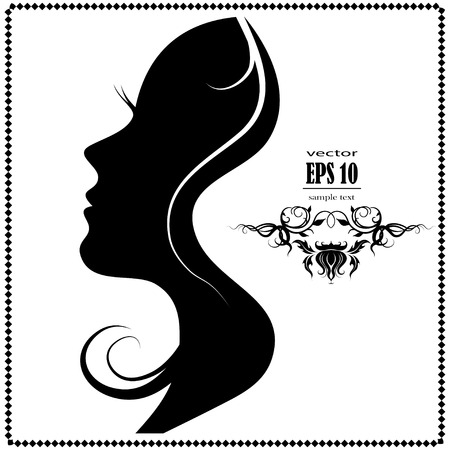 Illustration pour Beautiful female face silhouette in profile. - image libre de droit