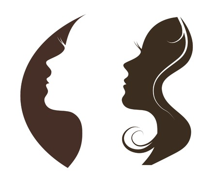 Photo for Woman chat vector logo design template. Girl silhouette - cosmetics, beauty, health; spa, fashion themes. Creative icon. - Royalty Free Image