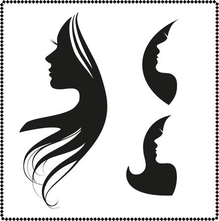 Illustration for vector set of woman silhouette with hair styling - Royalty Free Image
