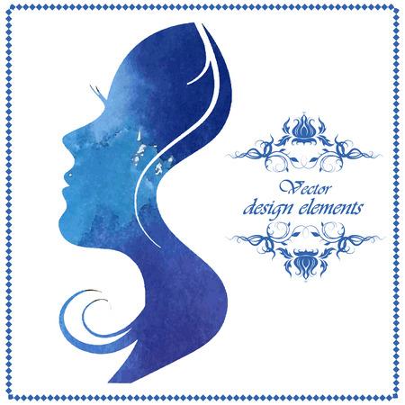 Illustration pour Watercolor beautiful woman silhouette. Vector illustration - image libre de droit
