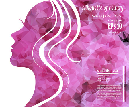 Illustration pour Beautiful girl silhouette with colorful hair, vector background. Abstract design concept for beauty salon, spa, cosmetic shop, flyer, brochure, cover, banner, placard. - image libre de droit