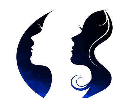Illustration pour Woman chat vector logo design template. Girl silhouette - cosmetics, beauty, health; spa, fashion themes. Creative icon. - image libre de droit