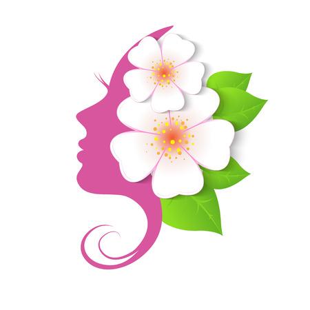 Illustration pour Female face in circle shape. Woman with flowers in hair. Vector beauty floral logo, sign, label design elements. Trendy concept for beauty salon, massage, spa, natural cosmetics. - image libre de droit