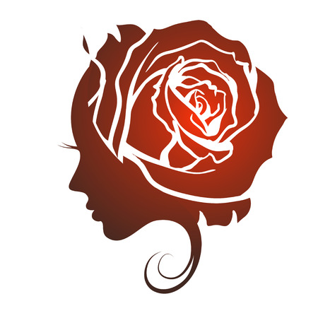 Illustration pour Female profile face in rose flower shape. Woman with rose petals in hair. Vector beauty floral logo, sign, label design. Concept for beauty salon, massage, spa, natural cosmetics, hairstyle. - image libre de droit