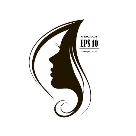 Illustration pour Beautiful woman face silhouette in profile, Hair Fashion icon. - image libre de droit